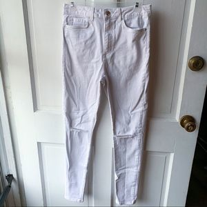 Forever 21 White High Waisted Ripped Jeans